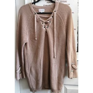 L'atiste Lace Up Sweater in Dusty Pink